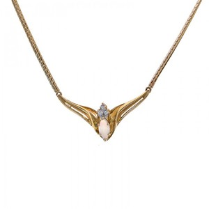 Avital & Co Jewelry 14k Yellow Gold 0.50 Carat Marquise Opal with Diamond Accent Necklace