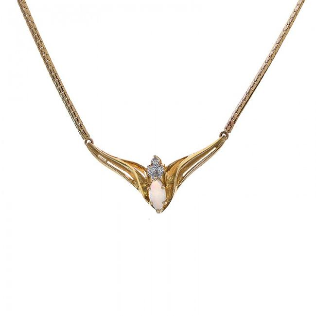 Item - 14k Yellow Gold 0.50 Carat Marquise Opal with Diamond Accent Necklace