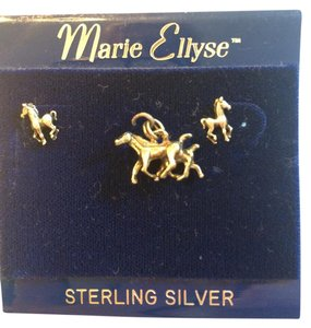 Marie Ellyse Horse Antique Vintage Sterling Silver Charm and Earrings Set