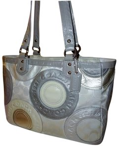 Coach Tote in Gray & Silver
