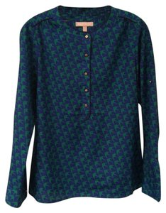 Banana Republic Bird Print Button Top Blue Green
