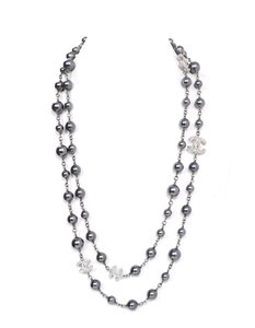 Chanel Chanel Grey Pearl & CC Pendant Long Necklace