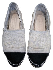 Chanel Canvas Classic Espadrille Black & White Flats
