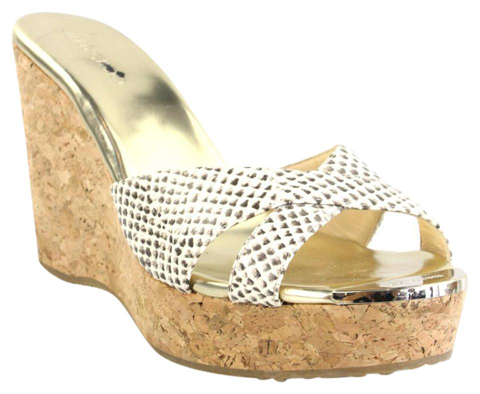 Jimmy Choo Ivory Criss-cross and Brown Snakeskin Embossed Criss-cross Ivory Wedges 743bd1