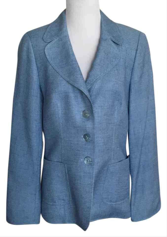 a8dfe6ba212c Escada Light Blue Silk Wool Linen Blend Textured Tweed Blazer Size 8 ...