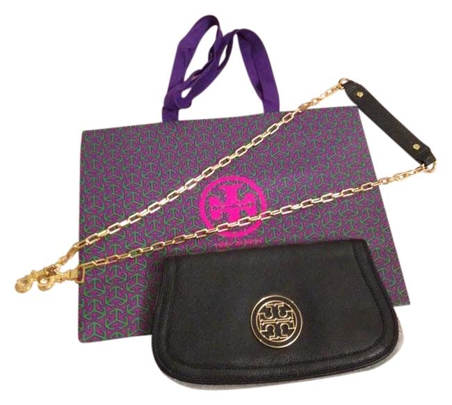 Item - Logo Flap Black with Gold Hardware Leather Clutch