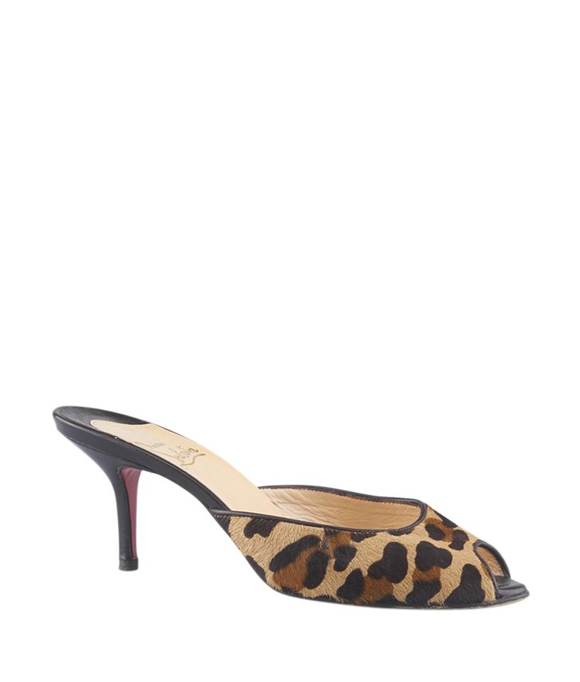 56e18be1da9 Christian Louboutin Animal Print Leopard Pony Hair Heels (124945) Sandals