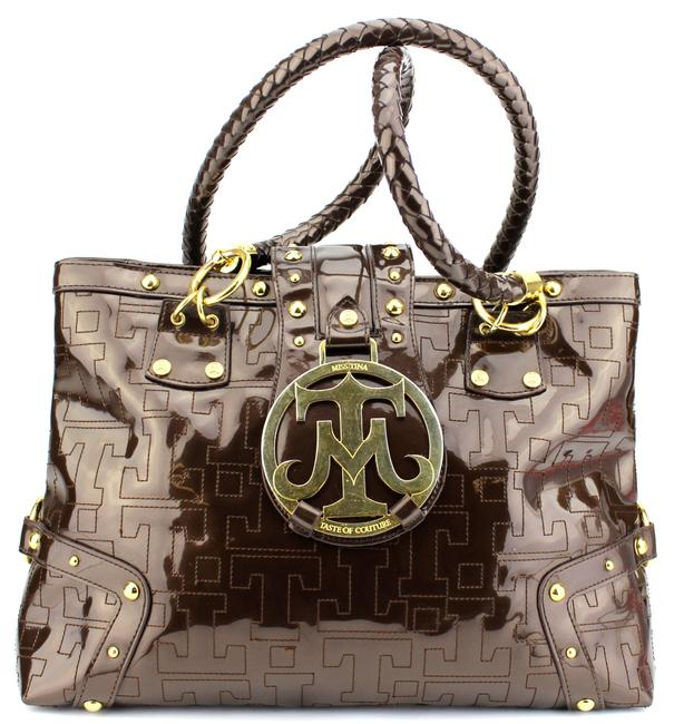 Item - Bag Patent Taste Of Couture Large Purse Brown Faux Leather Tote