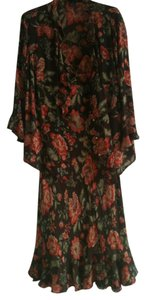 Brown/Coral Roses Maxi Dress by Jones New York SIgnature