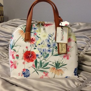 Valentina Made In Italy Italian Leather Leather Nwt Satchel in White Multi Color Floral