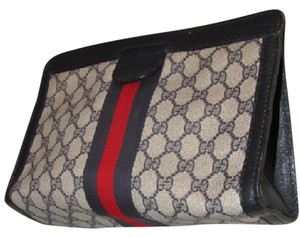 Gucci Great Everyday Cosmetic / Velcro Top Closure Early Mint Vintage navy large G logo print coated canvas & leather with red/blue stripe Clutch