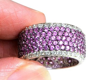 Other Eternity Band Diamond and Pink Sapphire White 14k Gold Ring,