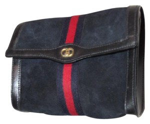 570943edef48c7 Gucci Cosmetic Bag/Clutch Great For Travel Dressy Or Casual Mint Vintage  Early blue suede