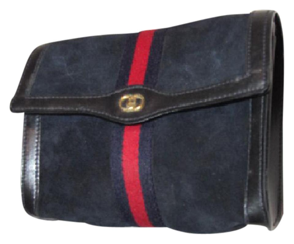 91b7f754e80 Gucci Vintage Purses Designer Purses Blue Suede and Leather with Red and  Blue Center Stripe Suede Leather Clutch