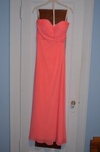 Bill Levkoff Coral Chiffon Over Taffeta Strapless Floor Length Formal Bridesmaid/Mob Dress Size 8 (M)