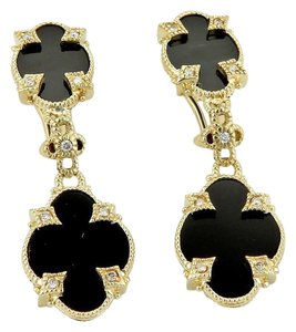 Judith Ripka 14K Yellow Gold Diamonds & Onyx Fancy Drop Dangle Earrings