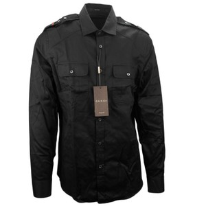 Gucci Shirt Mens Shirt Men's Shirt 223872 Shirt Button Down Shirt Black