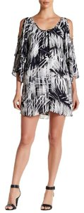 Parker Cold Print Bell Sleeves Scoop Neck Tiered Dress