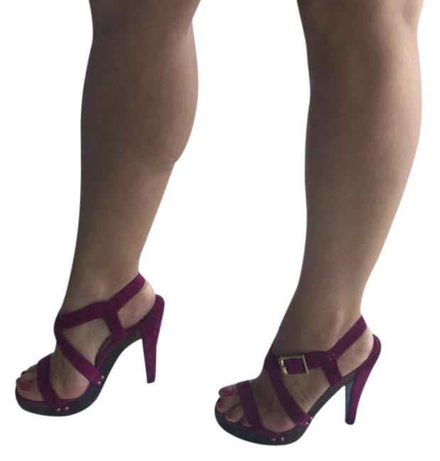 Item - Purple / Fuscia Suede Strappy Heels with Wood Accent Platforms Size US 6 Regular (M, B)