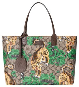 Gucci Leather Tote in Beige/Ebony