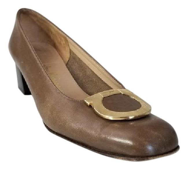 Item - Taupe Gancio Ornament Leather Pumps Size US 7 Narrow (Aa, N)