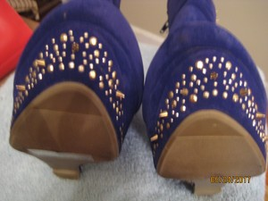 Liliana Wedge BLUE SUEDE SPIKES STUDS Boots