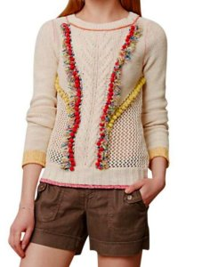 Anthropologie Embroidered Detail Ties At Neck Sweater