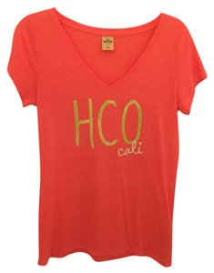 Hollister Summer Beach Bright T Shirt Coral