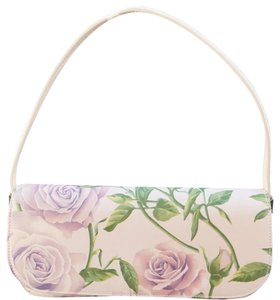 Dolce&Gabbana Satin Floral Leather Silver Hardware Top Handle Shoulder Bag