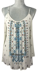 ECI New York Cold Bell Sleeves Top Ivory/Blue
