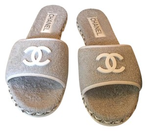 Chanel Pool Mules New In Box 39.5 light grey Sandals