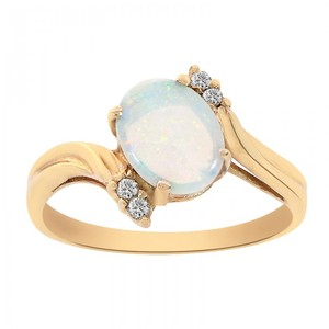Avital & Co Jewelry 14k Yellow Gold 0.90 Carat Oval Opal and Round Cut Diamonds Ring