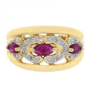 Avital & Co Jewelry 14k Yellow Gold 0.40 Carat Marquise Cut Rubies and Round Cut Diamonds Yg Ring