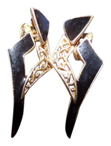 Other Black Enamel and gold dangle clip-on earrings