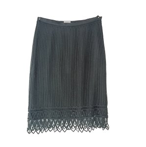 Sigrid Olsen Crochet Lace Silk Vintage Skirt Black