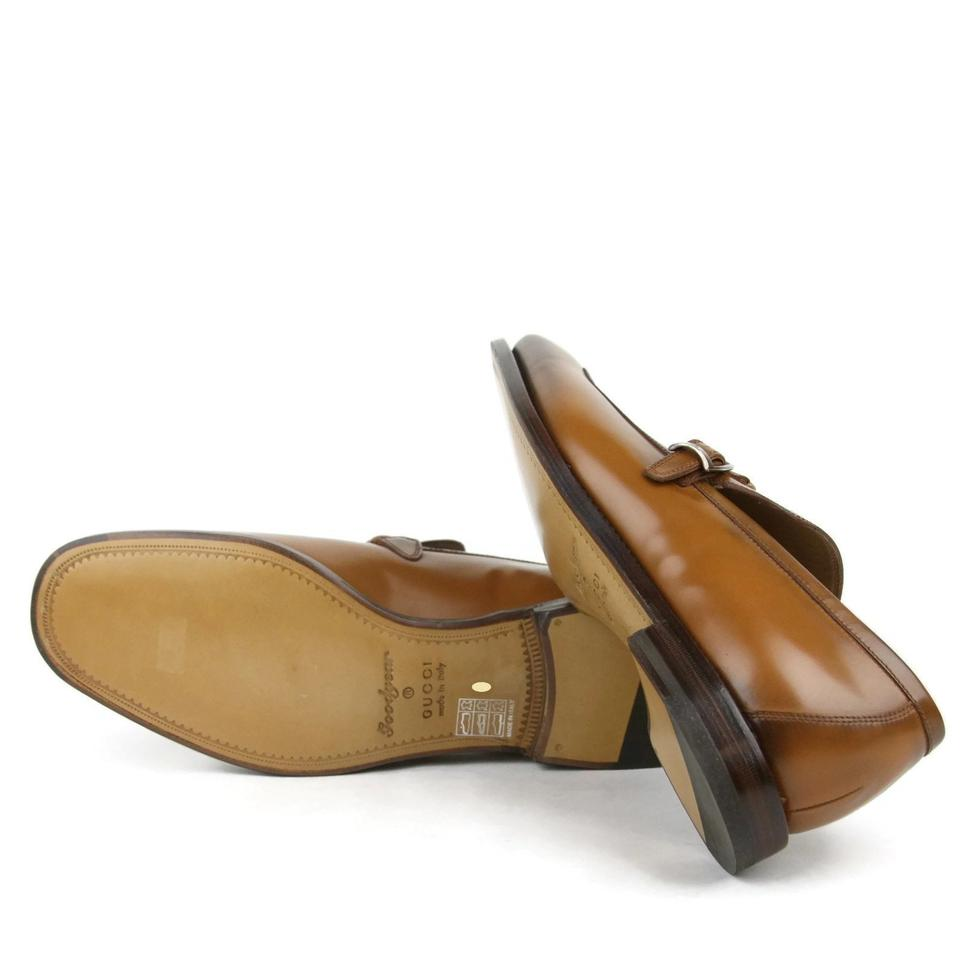 Gucci Leather Loafer Dress Shoes W/braided Strap Brown 8 ...