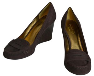 Coach Suede New Loafer Chocolate Brown Wedges