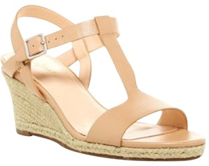 Cole Haan Jute Leather Wedge Strappy Pump Sandstone Sandals
