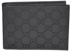 Gucci Gucci Men's 292534 Black Nylon GG Guccissima W/Coin Large Wallet