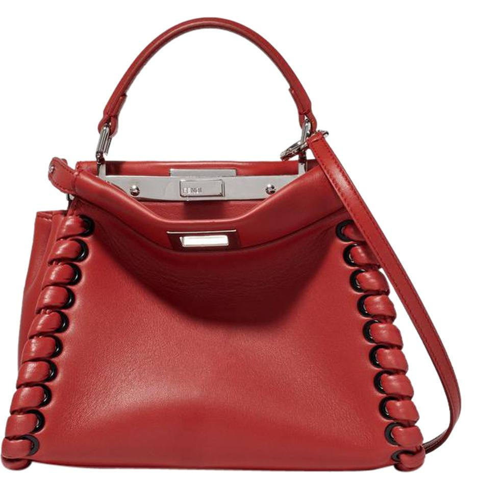2c47194dc4 Fendi - Peekaboo Mini Whipstitch Red Leather Tote - Tradesy