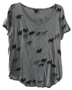 Ann Taylor Embellished Cotton Graphic T Shirt Gray