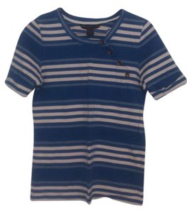 Marc by Marc Jacobs Stripes Buttons T Shirt Blue, White