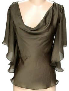 Ark & Co. Draped Cowl Neck Ruffle Top Olive