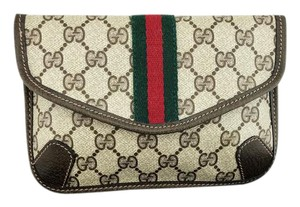 Gucci Vintage Coated Canvas BROWN Clutch