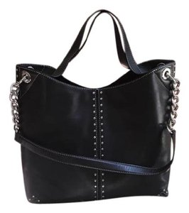 bccf97c16e66 Michael Kors Mk Astor Studded Leather Chain Strap Tote in Black