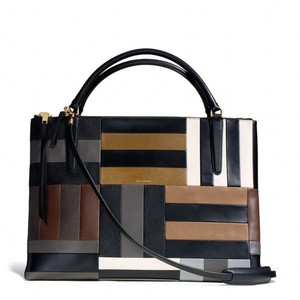 Coach Nwot Borough Patchwork Pebbled Leather Tote in Black/Gray/Cognac/Creme Patchwork