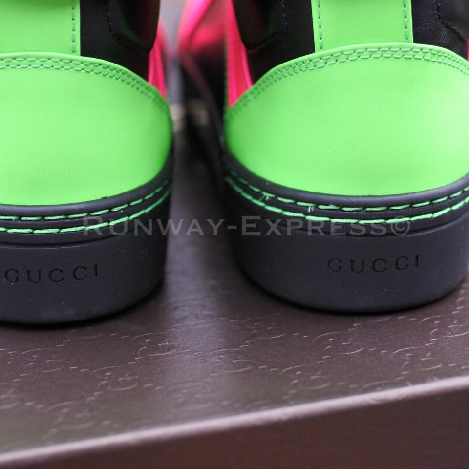 c0b46320e Gucci Black Neon Pink Green L Girl Woman's Leather Sneakers Size EU ...