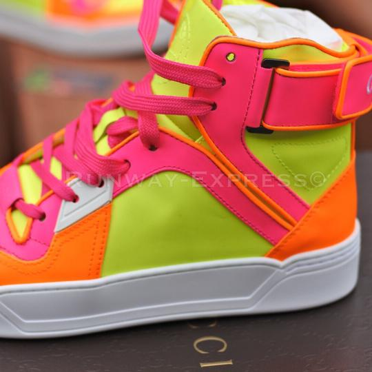 gucci sneaker leather white neon pink orange athletic shoes on tradesy. Black Bedroom Furniture Sets. Home Design Ideas