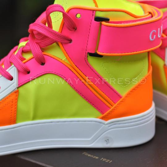 Gucci Sneaker Leather White NEON PINK ORANGE Athletic #0: gucci white neon pink orange athletic 4 0 width=440&height=440