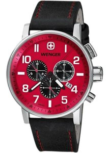 Wenger 01-1243-103 Attitude Men's Black Leather Bracelet With Red Dial